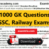 1000 General Knowledge Questions For SSC CGL, Railway Exams