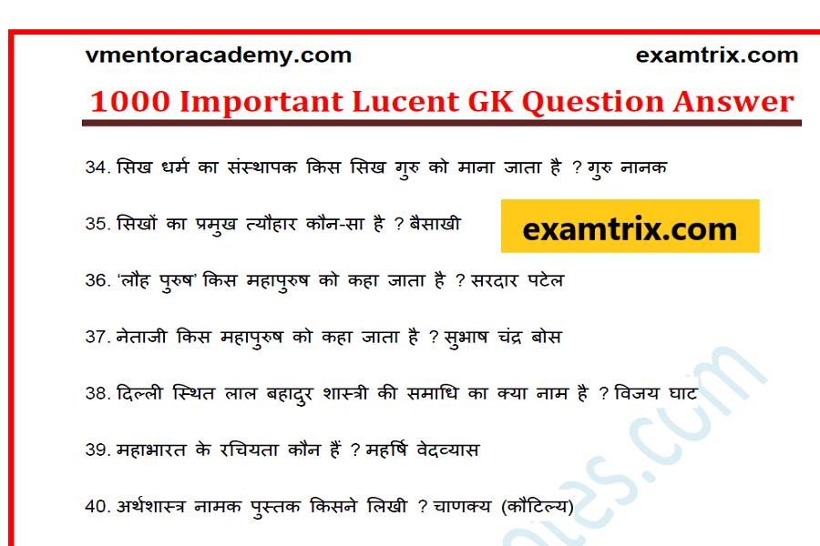GK in hindi 2018 Quiz, gk questions hindi - Examtrix com