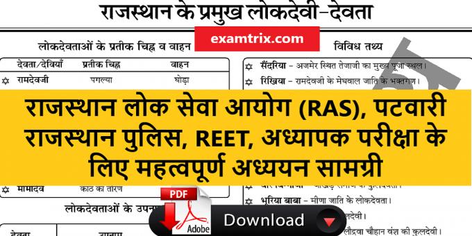 Rajasthan Devi Devata Notes