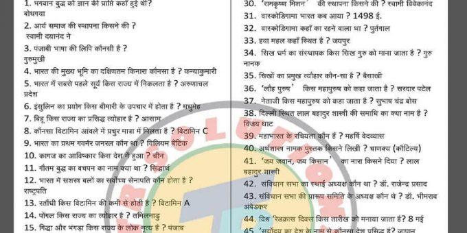 1000 सामान्य ज्ञान अति महत्वपूर्ण प्रश्नोत्तरी- 1000 General Knowledge GK Questions in Hindi