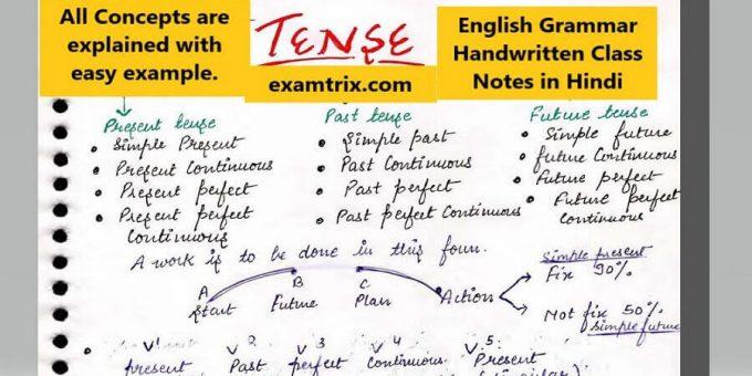 English Grammar Handwritten Class Notes in Hindi PDF examtrix