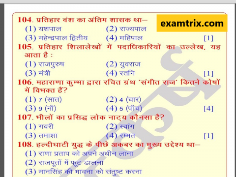 RAS Rajasthan History - Art and culture Questions in Hindi PDF examtrix