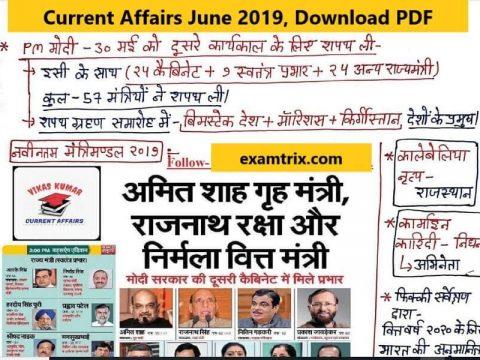 Current Affairs pdf download in Hindi June 2019
