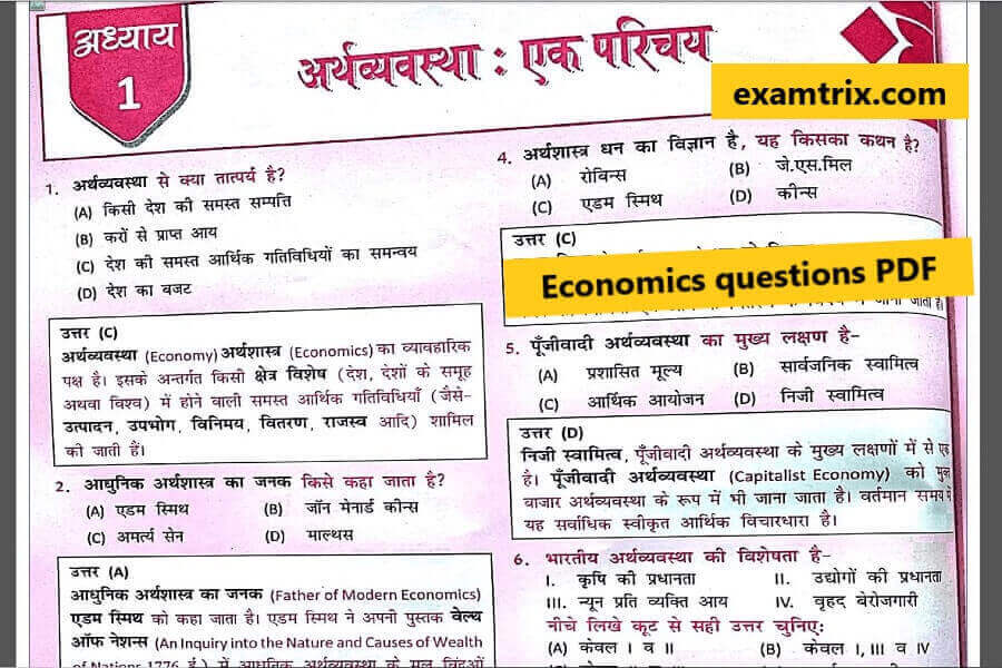 economics questions in hindi