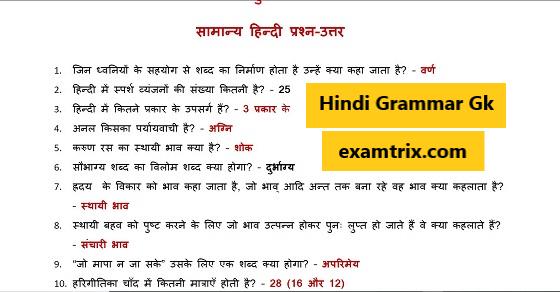 General Hindi Grammar Questions हिंदी व्याकरण सामान्य ज्ञान प्रश्नोत्तरी