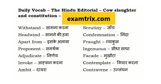 The Hindu vocabulary meaning in English