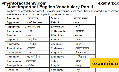 Vocabulary word meaning in Hindi