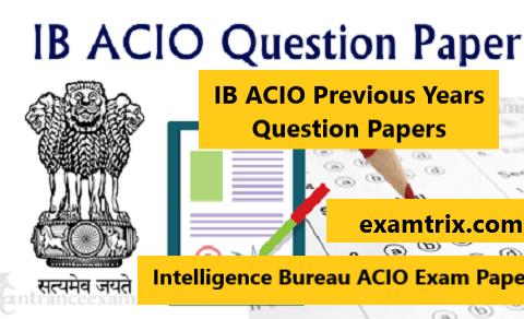 IB ACIO previous year question paper in Hindi and English Pdf download