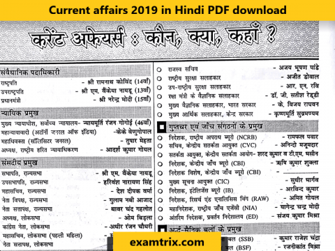 Current affairs 2019 in Hindi PDF download