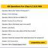 GK Questions For Class 6 General Knowledge Questions Answer
