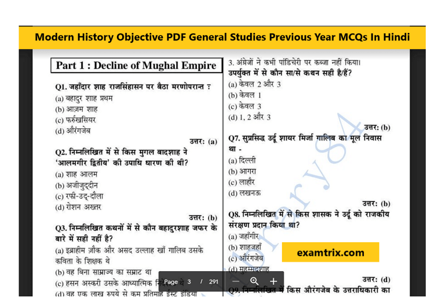 Modern Indian History question in Hindi PDF Download