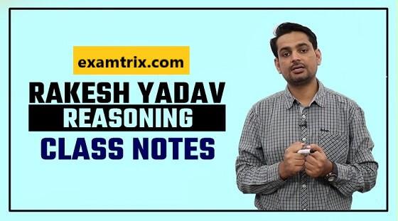 Rakesh Yadav Reasoning Class Notes PDF in Hindi and English
