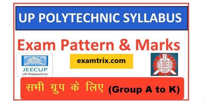 JEECUP UP Polytechnic Syllabus 2020 - Download Syllabus PDF Of UP Polytechnic