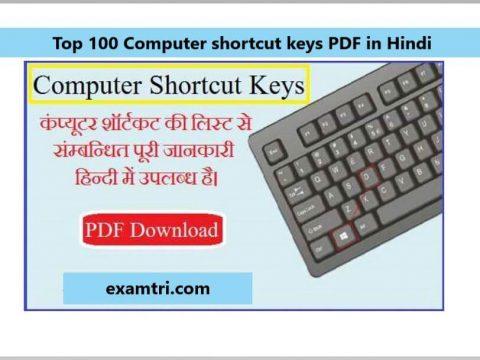 Top 100 Computer shortcut keys PDF in Hindi