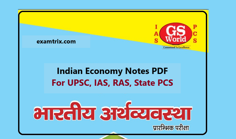 Indian Economy Notes PDF By GS World IAS