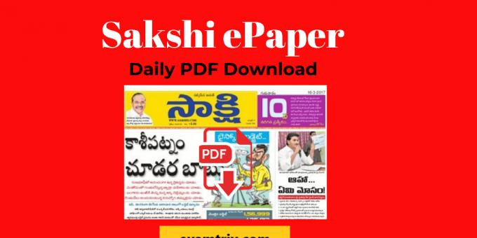 Sakshi Epaper Today PDF Download