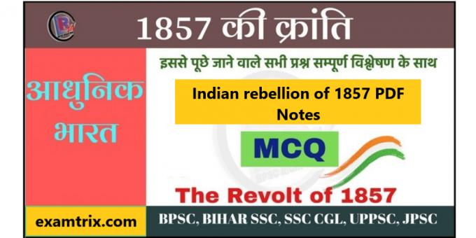 Indian rebellion of 1857 Revolt PDF Notes 1857 ki kranti