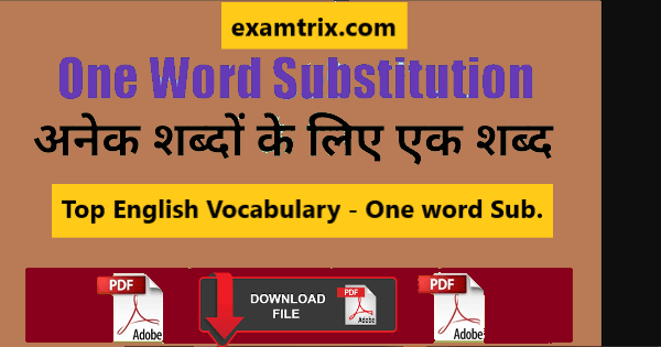 One Word Substitution in English with Hindi meaning PDF Download