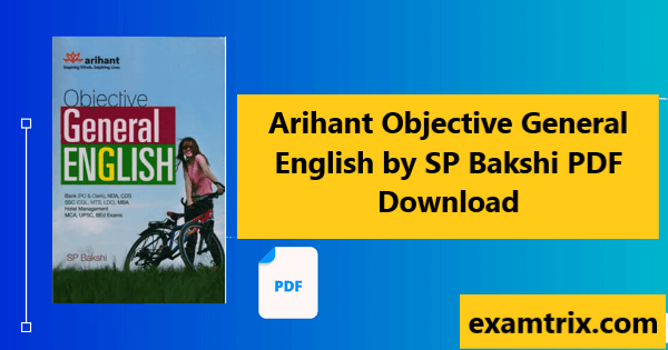 Arihant Objective General English by SP Bakshi pdf download